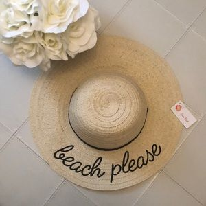 Accessories - NWT Beach Please Beach hat straw summer beige whit